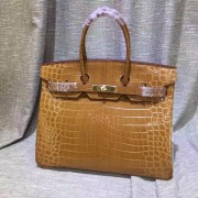 Hermes Birkin 35cm Handbag Crocodile Leather Brown Gold