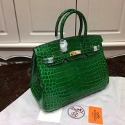 Hermes Birkin 35cm Handbag Crocodile Leather Green Gold