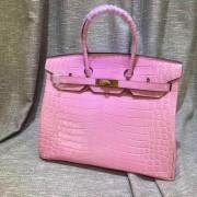 Hermes Birkin 35cm Handbag Crocodile Leather Pink Gold