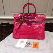 Hermes Birkin 35cm Handbag Crocodile Leather Rose Gold