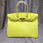 Hermes Birkin 35cm Handbag Crocodile Leather Yellow Gold