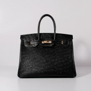 Hermes Birkin 35cm Ostrich Leather Bag Black Gold