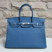 Hermes Birkin 35cm cattle skin vein Handbags blue silver