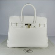 Hermes Birkin 35cm Togo leather Handbags white gold