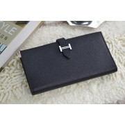 Hermes Calf Leather Wallet H005 H Black
