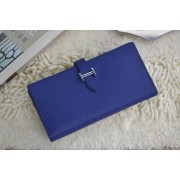 Hermes Calf Leather Wallet H005 Royal Blue
