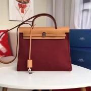 Hermes Herbag 31cm Burgundy Canvas Bag