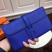 Hermes Jige Wallet Togo Leather Electric Blue