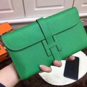 Hermes Jige Wallet Togo Leather Green