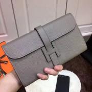 Hermes Jige Wallet Togo Leather Grey