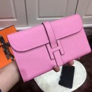 Hermes Jige Wallet Togo Leather Pink