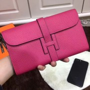 Hermes Jige Wallet Togo Leather Rose
