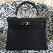 Hermes Kelly 28cm Bag Togo Leather Black Gold