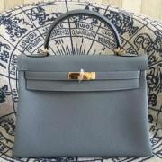 Hermes Kelly 28cm Bag Togo Leather Blue Lin Gold