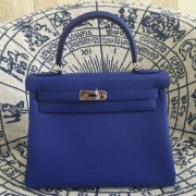 Hermes Kelly 28cm Bag Togo Leather Electric Blue Silver