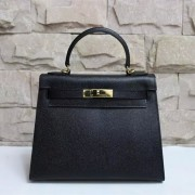 Hermes Kelly 28cm Epsom Leather Handbag Black Gold