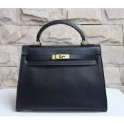 Hermes Kelly 32cm Epsom Leather Handbag Black Gold