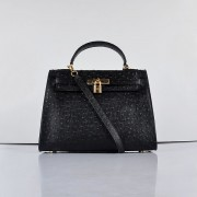 Hermes Kelly 32cm Ostrich Vein 6108 Black Golden