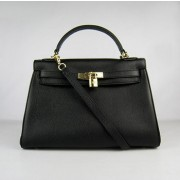 Hermes Kelly 32cm Togo leather handbag 6108 black gold