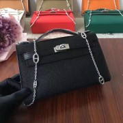 Hermes Mini Kelly 22cm Epsom Leather Black Silver With Chain Strap
