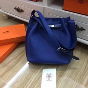 Hermes So Kelly 28cm Togo Leather Shoulder Bag Electric Blue Silver
