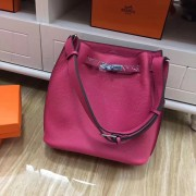 Hermes So Kelly 28cm Togo Leather Shoulder Bag Hot Pink Silver