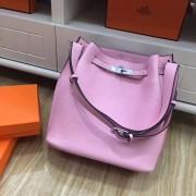 Hermes So Kelly 28cm Togo Leather Shoulder Bag Pink Silver