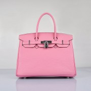 Hermes Birkin 30cm Togo Leather Handbags Cherry Pink Silver