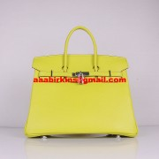 Hermes Birkin 30cm Togo Leather Handbags Lemon Yellow Silver