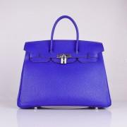 Hermes Birkin 35cm Togo leather Handbags electric blue silver