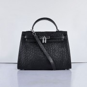 Hermes Kelly 32cm Ostrich Vein 6108 Black Silver