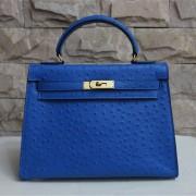 Hermes Kelly 32cm Ostrich Vein Handbag Blue Golden