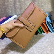 Hermes Epsom Leather Jige Clutch 29cm Brown