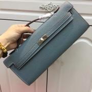 Hermes Kelly Cut 31cm Epsom Leather Clutch Grey Blue