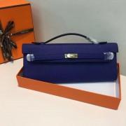 Hermes Kelly Cut 31cm Epsom Leather Clutch Electric Blue