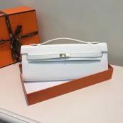 Hermes Kelly Cut 31cm Epsom Leather Clutch White
