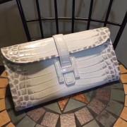 Hermes Jige Clutch 29cm Croco White Grey