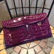 Hermes Jige Clutch 29cm Croco Purple