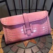 Hermes Jige Clutch 29cm Croco Pink