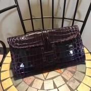 Hermes Jige Clutch 29cm Croco Dark Purple