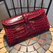 Hermes Jige Clutch 29cm Croco Dark Red