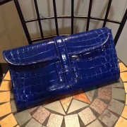 Hermes Jige Clutch 29cm Croco Blue
