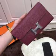 Hermes Constance Wallet Togo Leather Burgundy
