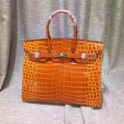 Hermes Birkin 35cm Handbag Crocodile Leather Orange Gold