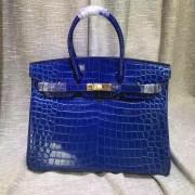 Hermes Birkin 35cm Handbag Crocodile Leather Electric Blue Gold