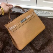 Hermes Kelly 32cm Togo leather handbag brown silver