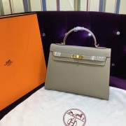 Hermes Kelly 32cm Epsom Leather Handbag elephant grey gold