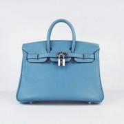 Hermes Birkin 25cm Handbag 6068 Blue Silver