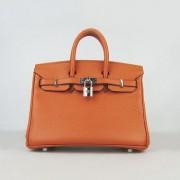 Hermes Birkin 25cm Handbag 6068 orange silver